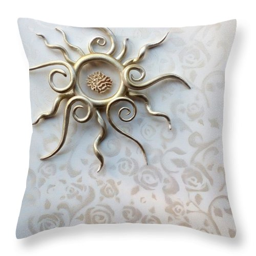 Roses Throw Pillow featuring the sculpture Sun Catcher by Ines nanda Drole