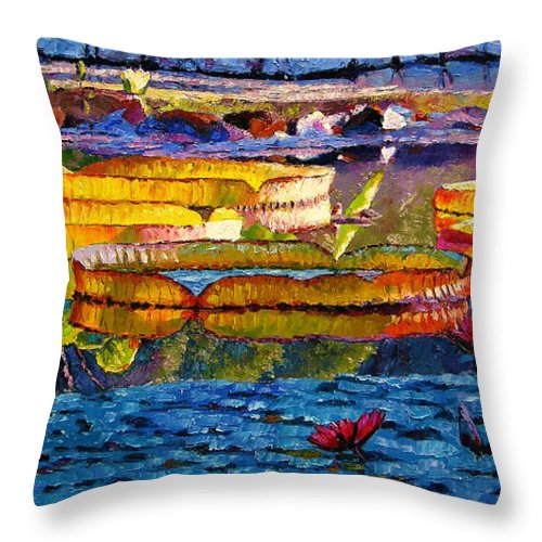 Water Lilies Throw Pillow featuring the painting Sun Color and Paint by John Lautermilch