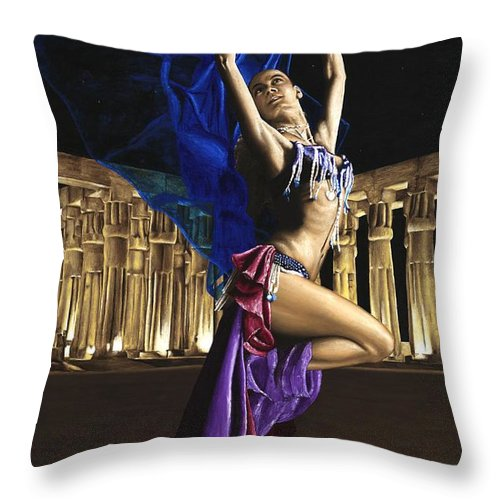 Belly Throw Pillow featuring the painting Sun Court Dancer by Richard Young