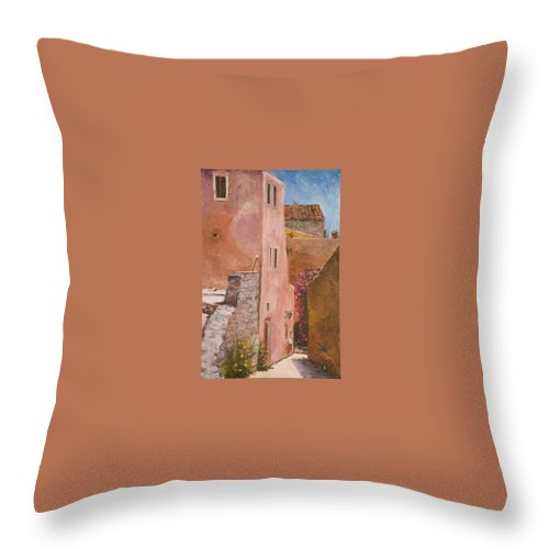 Urban Throw Pillow featuring the painting Sun Drenched by Kit Hevron Mahoney
