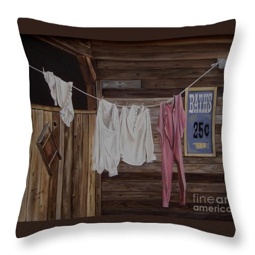 Art Throw Pillow featuring the painting Sun Dried by Mary Rogers