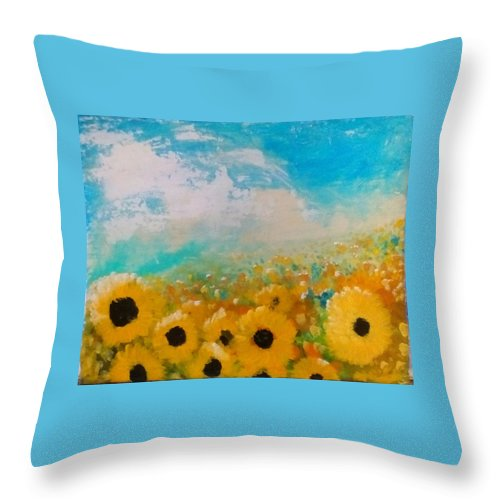 Flowers Throw Pillow featuring the painting Sun flower by J Bauer