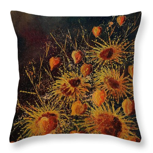 Flowers Throw Pillow featuring the painting Sun Flowers And Physialis by Pol Ledent
