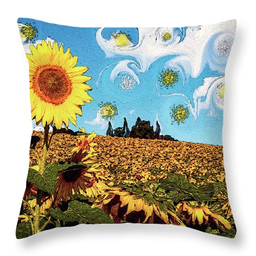 Sun Throw Pillow featuring the photograph Sun Flowers Field by Riobom Santos