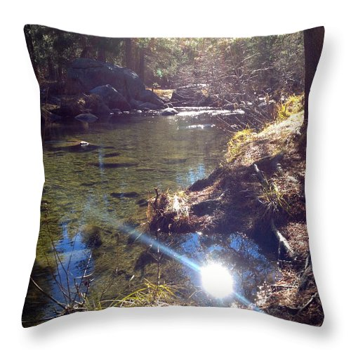 Outdoors Throw Pillow featuring the photograph Sun Glare Off River by Bethany Morrow