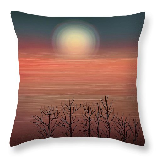 Sunset Throw Pillow featuring the painting Sun Going To Bed by Anne Norskog