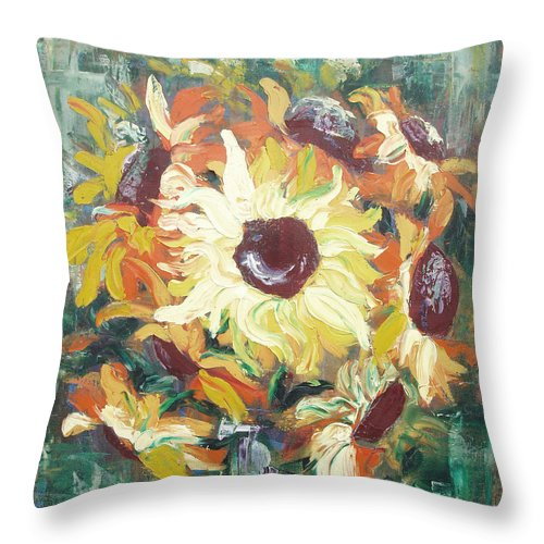 Sunflowers Throw Pillow featuring the painting Sun In A Vase by Gina De Gorna