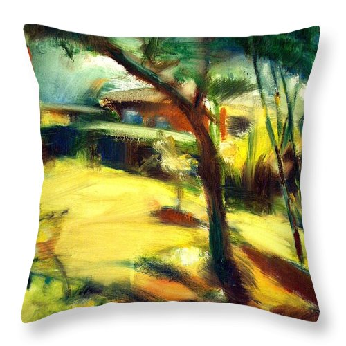 Dornberg Throw Pillow featuring the painting Sun In The Back by Bob Dornberg