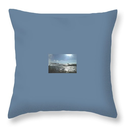 Landscape Throw Pillow featuring the photograph Sun On The Falls by Debbie Levene