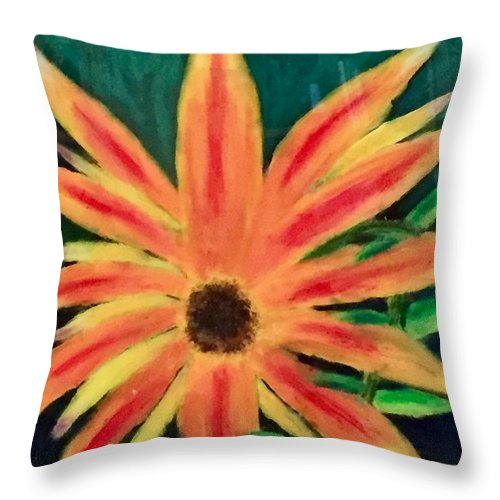 Sunflowers Throw Pillow featuring the painting Sun Rays by Jason Rosenstock