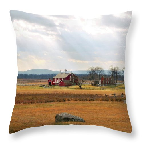 Civil War Throw Pillow featuring the photograph Sun Rays On Codori Farm. by Jen Goellnitz