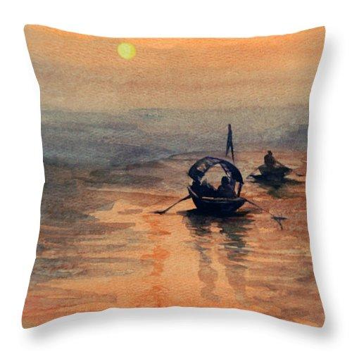 Water Throw Pillow featuring the painting Sun Set by Anju Saran