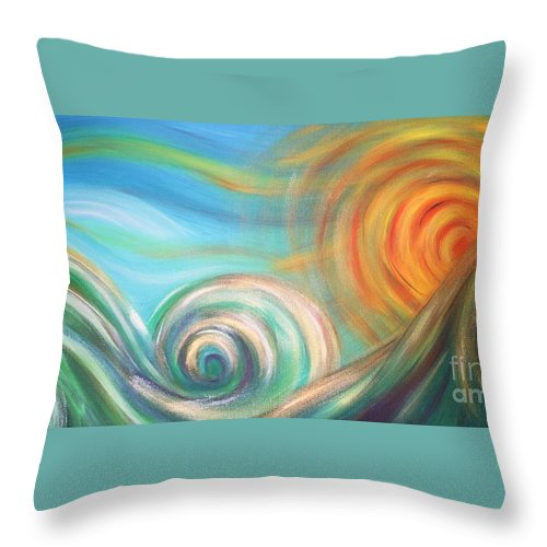 Sea Throw Pillow featuring the painting Sun Surf Sky by Reina Cottier