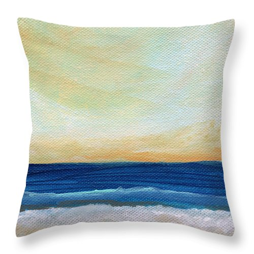 Beach Throw Pillow featuring the mixed media Sun Swept Coast- Abstract Seascape by Linda Woods