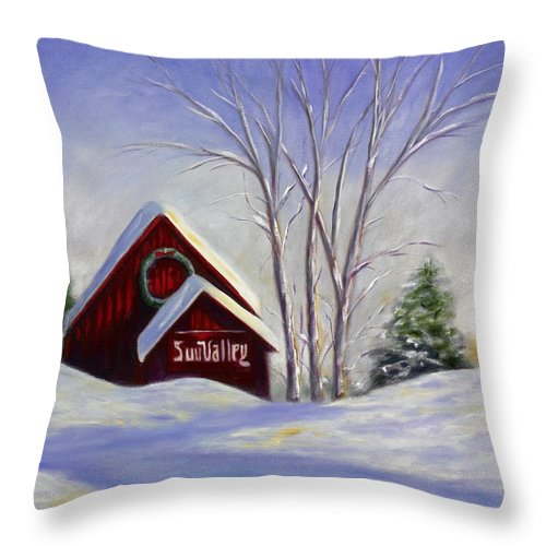 Landscape White Throw Pillow featuring the painting Sun Valley 1 by Shannon Grissom