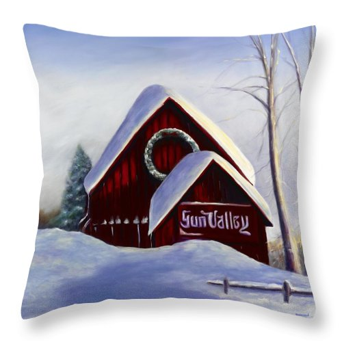 Landscape Throw Pillow featuring the painting Sun Valley 3 by Shannon Grissom