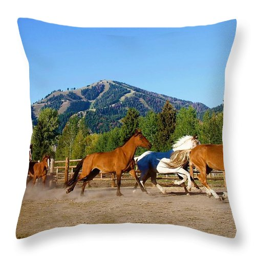 Sun Valley Resort Throw Pillow featuring the photograph Sun Valley Stables by Amy G Taylor