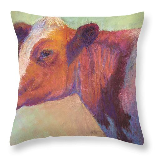Farm Animals Throw Pillow featuring the painting Sunbather by Susan Williamson