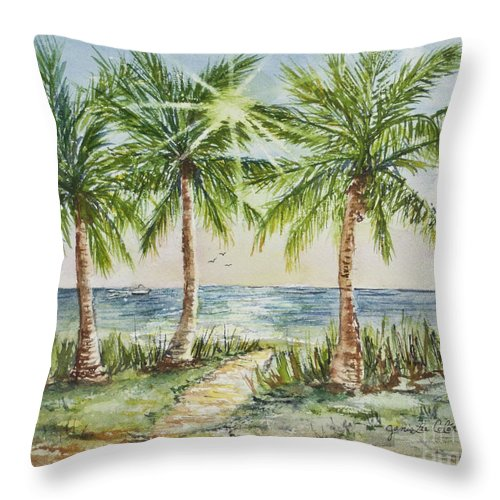 Palm Trees Throw Pillow featuring the painting Sunburst Beach Morning by Janis Lee Colon
