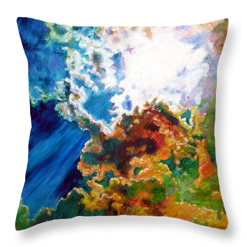 Sunburst Throw Pillow featuring the painting Sunburst by John Lautermilch