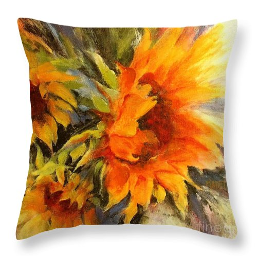 Sunflower Painting Throw Pillow featuring the painting Sunburst by Madeleine Holzberg