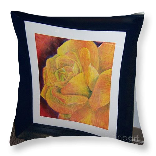 Rose Throw Pillow featuring the painting Sunburst Rose by Emily Young