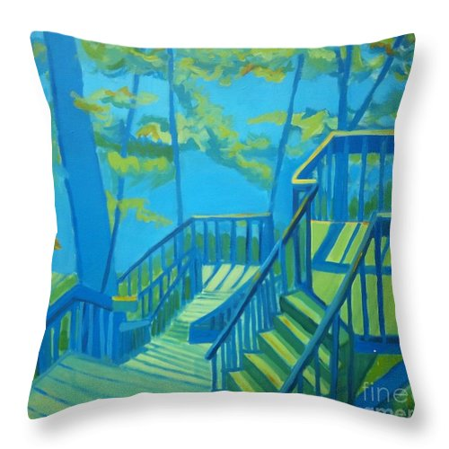 New Hampshire Throw Pillow featuring the painting Suncook Stairwell by Debra Bretton Robinson