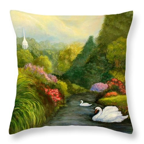 Christian Throw Pillow featuring the painting Sunday Afternoon by Gail Kirtz