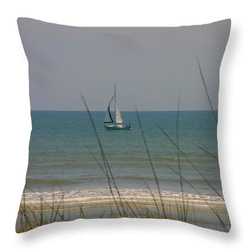 Sailboat Throw Pillow featuring the photograph Sunday Breeze by Pattie Frost