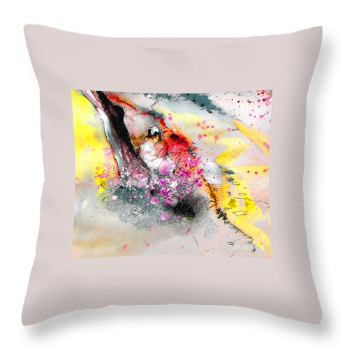 Pastel Painting Throw Pillow featuring the painting Sunday By The Tree by Miki De Goodaboom