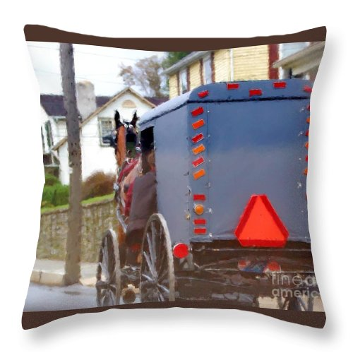 Amish Throw Pillow featuring the photograph Sunday Courting by Debbi Granruth
