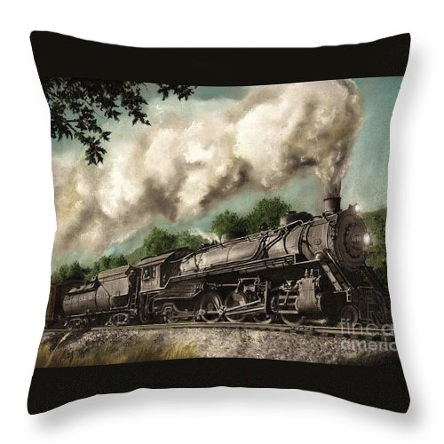 Baltimore & Ohio Railroad B&o Q4 Train Painting Railroad Maryland And Pennsylvania Autumn Fall Colors Steam Engine Throw Pillow featuring the painting Sunday Drive by David Mittner