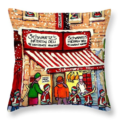 Montreal Throw Pillow featuring the painting Sunday Lineup At The Deli by Carole Spandau