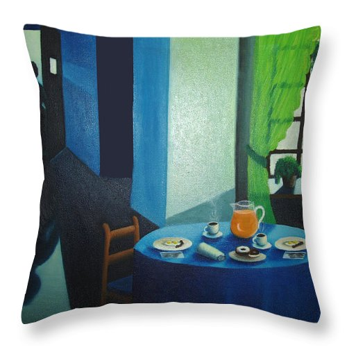 Breakfast Throw Pillow featuring the painting Sunday Morning Breakfast by Nancy Mueller