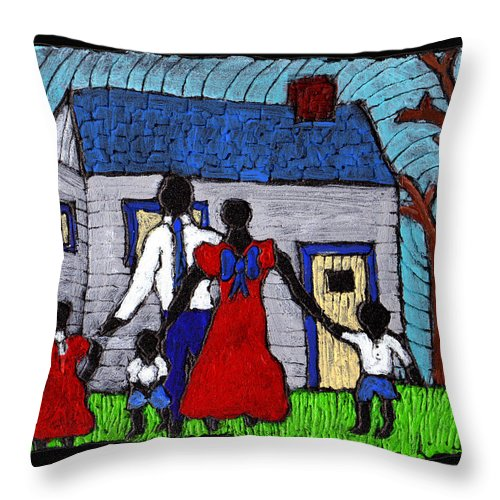 Family Throw Pillow featuring the painting Sunday Morning Finest by Wayne Potrafka