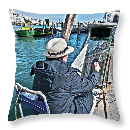 Europe Throw Pillow featuring the photograph Sunday Painter by Heiko Koehrer-Wagner