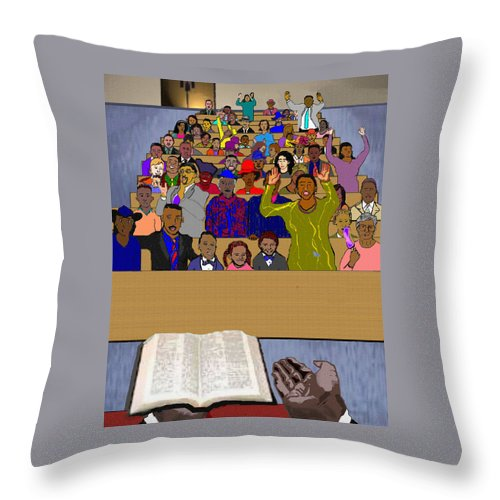 Sermon Throw Pillow featuring the painting Sunday Sermon by Pharris Art
