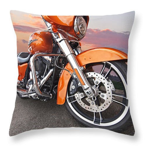 Harley Davidson Motorcycle Throw Pillow featuring the photograph Sundown - Harley Street Glide by Gill Billington