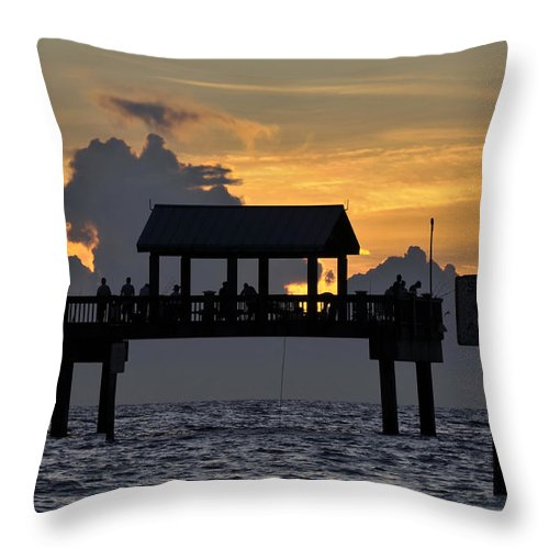 Fishing Throw Pillow featuring the photograph Sundown Pier by David Lee Thompson