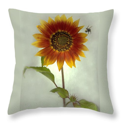 Sunflower Throw Pillow featuring the mixed media Sunflower And Bee by Sandi F Hutchins