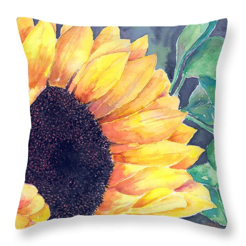 Sunflower Throw Pillow featuring the painting Sunflower by Arline Wagner