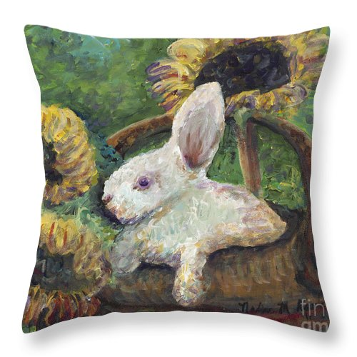 Sunflowers Throw Pillow featuring the painting Sunflower Basket Surprise by Nadine Rippelmeyer