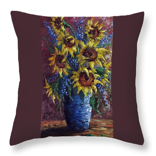 Flowers Throw Pillow featuring the painting Sunflower Bouquet by David G Paul