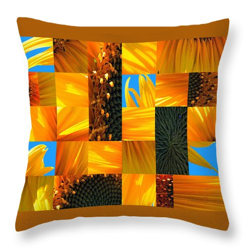 Sunflower Throw Pillow featuring the photograph Sunflower Cut-up by Tommy Marblo