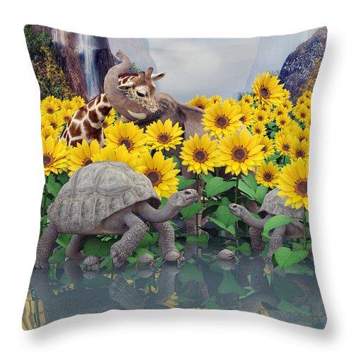 Sunflower Throw Pillow featuring the digital art Sunflower Daydream by Betsy Knapp