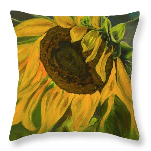 Yellow Flower Throw Pillow featuring the painting Sunflower by Donna Drake