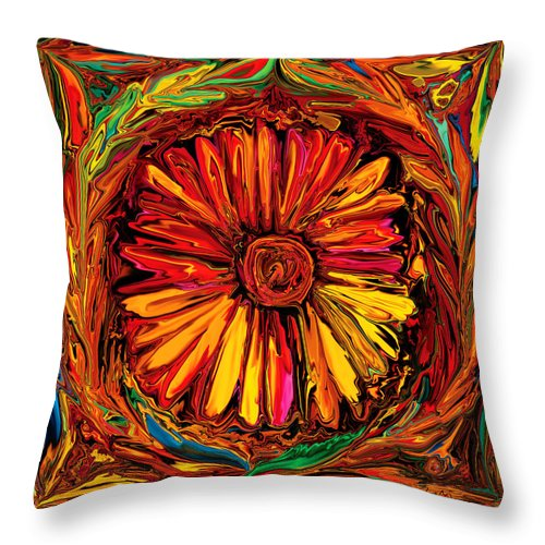 Art Throw Pillow featuring the digital art Sunflower Emblem by Rabi Khan