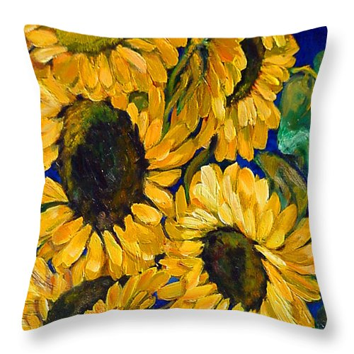 Flowers Throw Pillow featuring the painting Sunflower Faces by Beverly Boulet