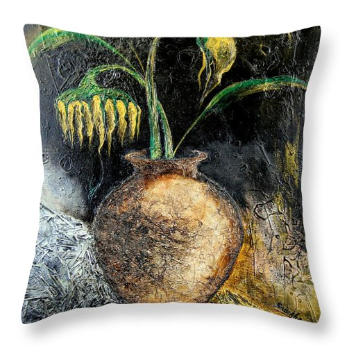 Sunflower Throw Pillow featuring the painting Sunflower by Farzali Babekhan