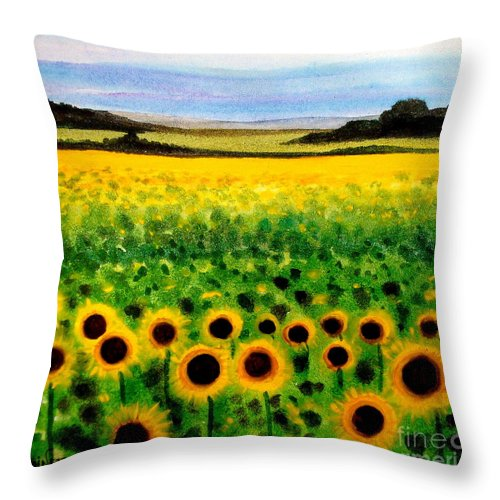 Landscape Throw Pillow featuring the painting Sunflower Field by Elizabeth Robinette Tyndall
